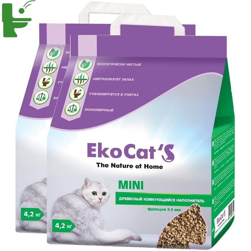 Комкующийся наполнитель Eko Cat's Mini древесный, 4.2 кг, 10 л, 2 шт