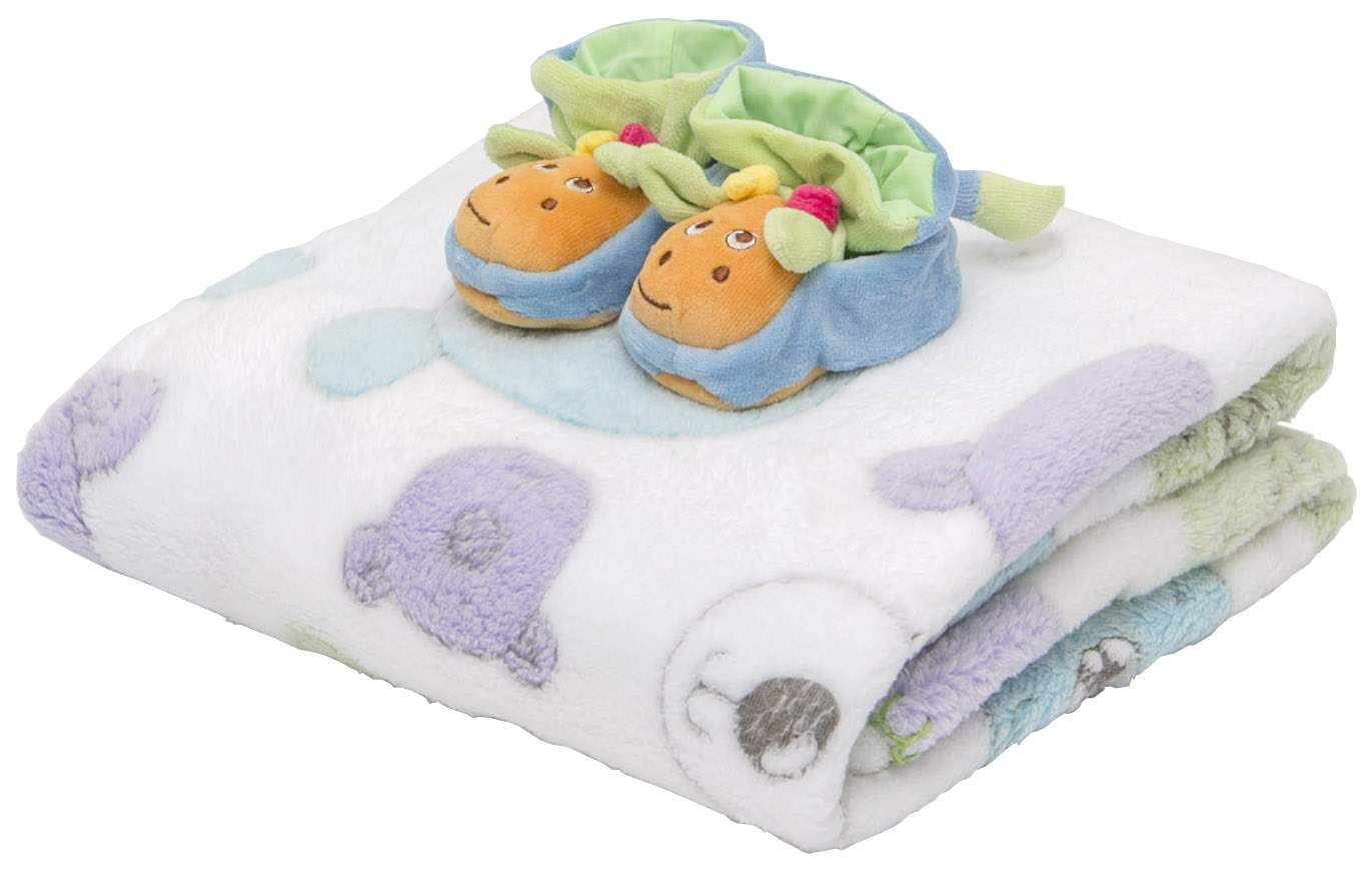 Плед+пинетки велюровые Baby Nice Мишки на белом 100x118 белый