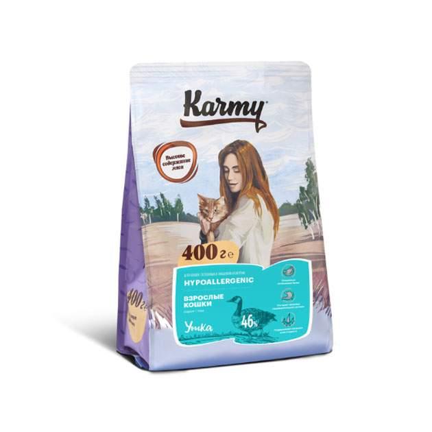 Сухой корм для кошек Karmy Hypoallergenic, гипоаллергенный, утка, 0,4кг