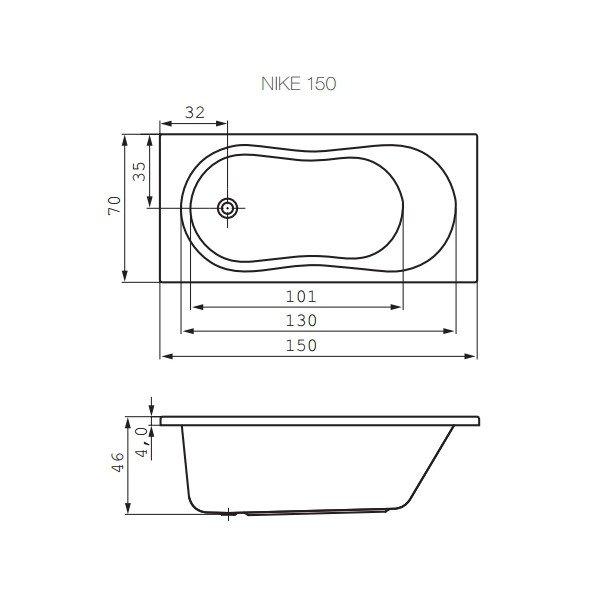 Акриловая ванна Cersanit WP-NIKE*150-W