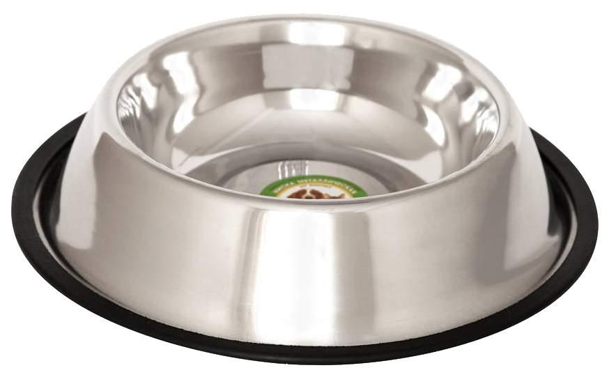 Одинарная миска для кошек и собак Ankur, металл, резина, серебристый, 0.45 л