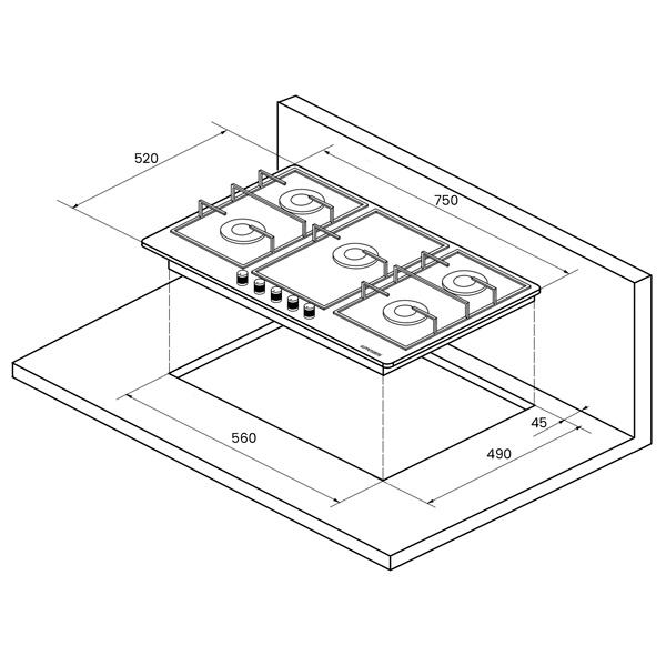 Встраиваемая варочная панель газовая KUPPERSBERG TS 79 X Silver
