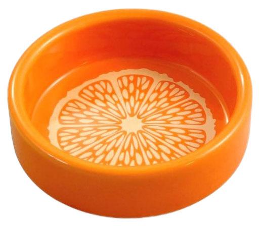 Одинарная миска для кошек и собак Triol, керамика, оранжевый, белый, 0.1 л