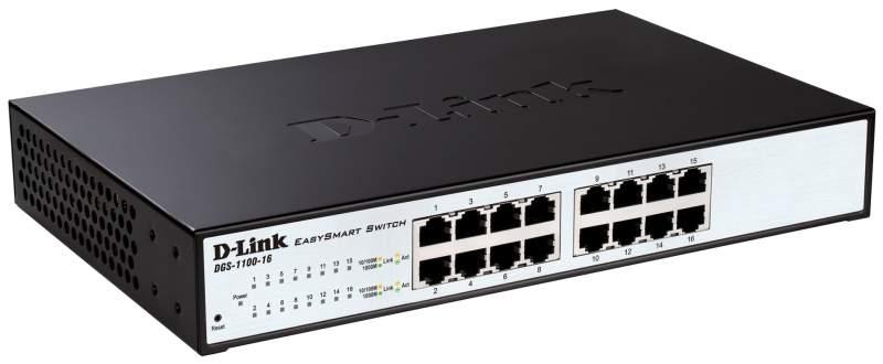 Коммутатор D-Link DGS-1100-16/B2A Black