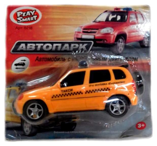 Инерционная машинка PlaySmart Автопарк такси желтое 1:45 В41811