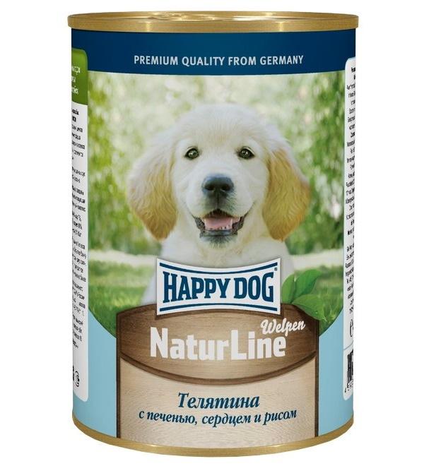 Фотография Консервы для щенков Happy Dog NaturLine, с телятиной, печенью, сердцем и рисом, 400г №1