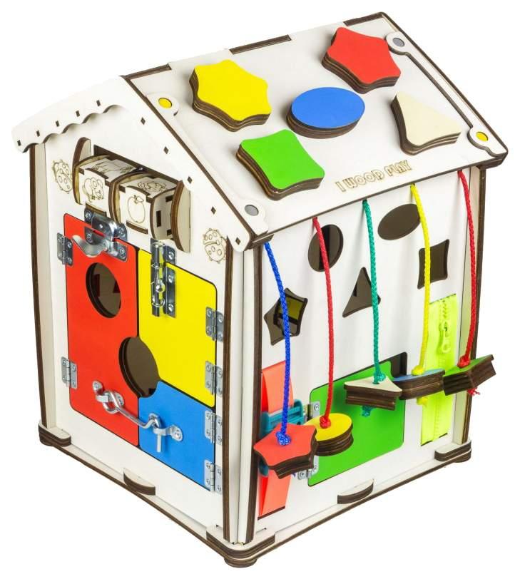Бизиборд IWOODPLAY id-04-02 домик Мультицвет 28х28х35 (свет)