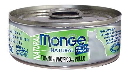 Консервы для кошек Monge Natural, рыба, курица, 80г