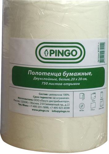 Полотенца  бумажные  Pingo  2-х слойные белые  20*20 см