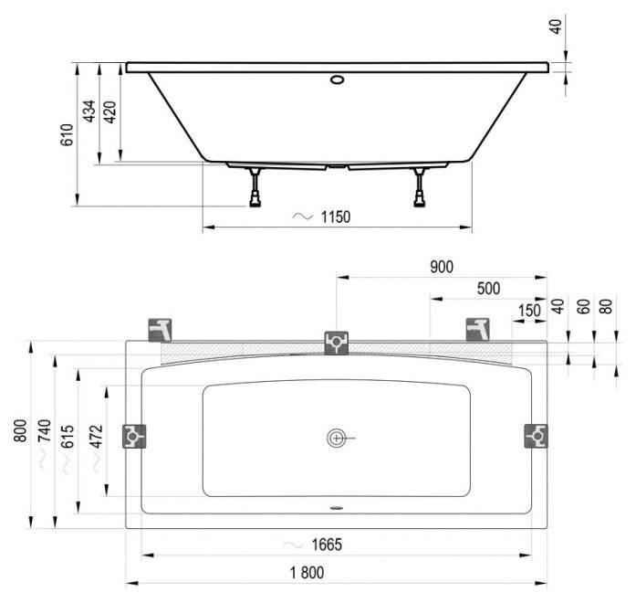 Акриловая ванна Ravak Formy 02 180х80 без гидромассажа