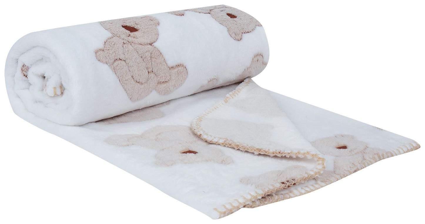 Плед-покрывало Baby Nice Бежевые мишки на белом, велсофт 2-стороннее, 100х150 см