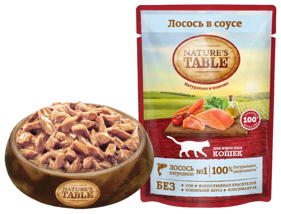 Фотография Влажный корм для кошек Nature's Table, с лососем в соусе, 24шт по 85г №1