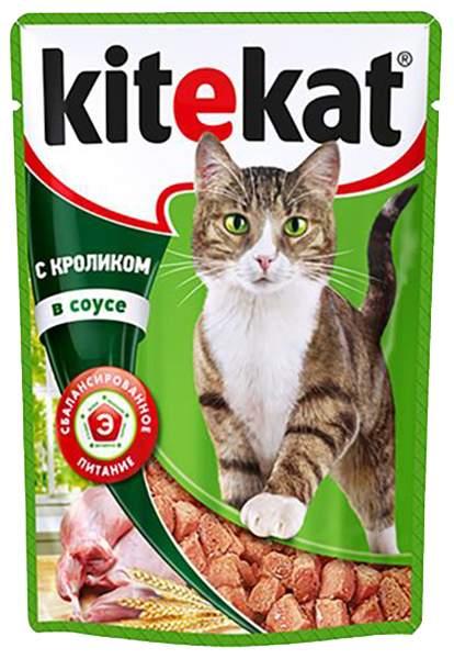 Влажный корм для кошек KiteKat, с кроликом в соусе, 24шт по 85г