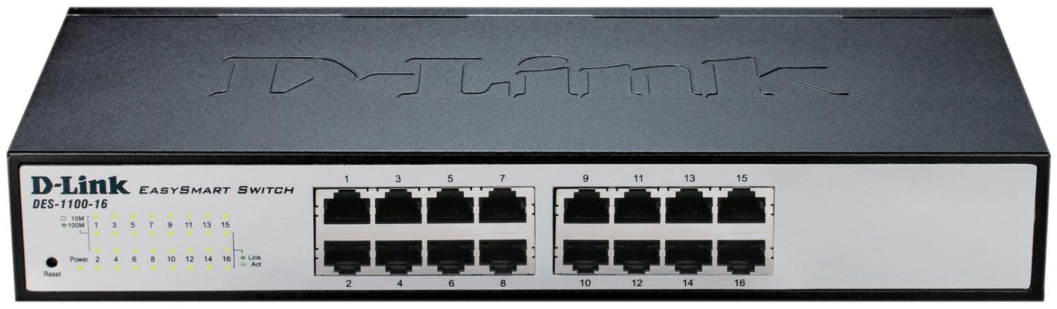 Коммутатор D-Link EasySmart DES-1100-16 Серый, черный