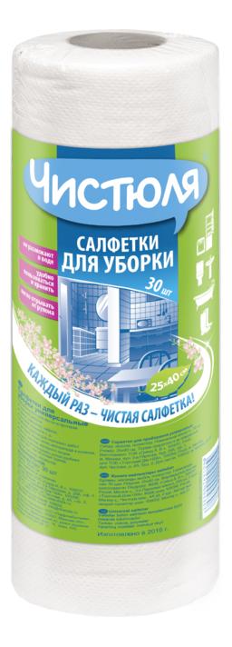 Салфетка для уборки ЧИСТЮЛЯ вискозная 25x40 см 30 шт