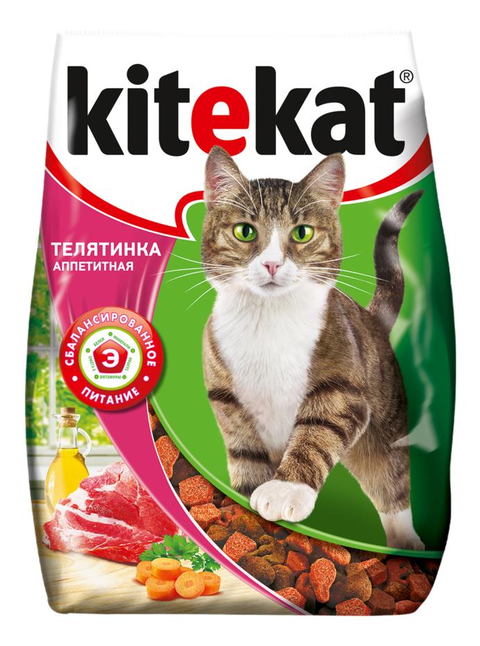 Сухой корм для кошек Kitekat, с аппетитной телятинкой, 18шт по 350г