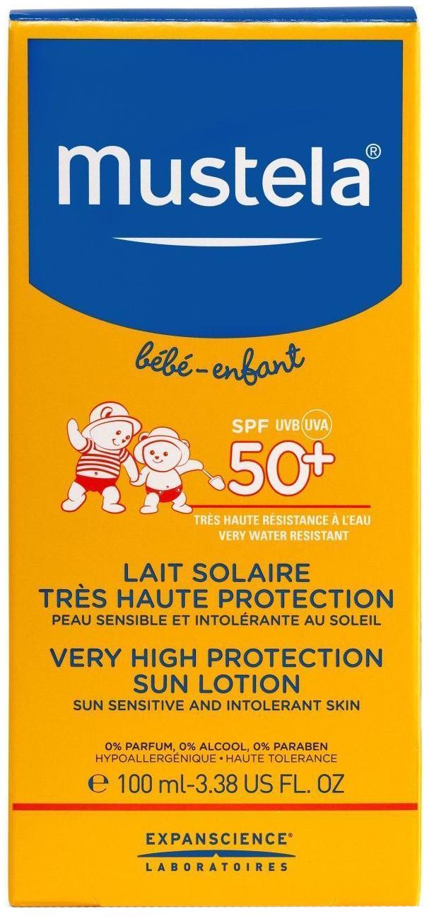 Солнцезащитное молочко Mustela Мустела Бебе  SPF 50+, 100 мл Sun