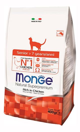 Сухой корм для кошек Monge Natural Superpremium Senior, для пожилых, курица, 0,4кг