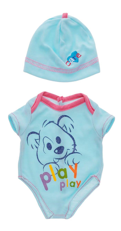 Боди голубой цвет в наборе с шапочкой, размер: 30x20 см для кукол Junfa toys