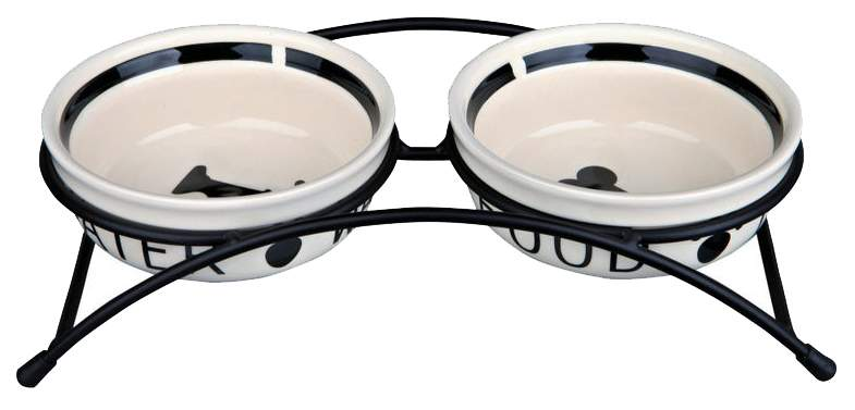 Двойная миска для кошек и собак TRIXIE, керамика, металл, резина, белый, черный, 0.5 л