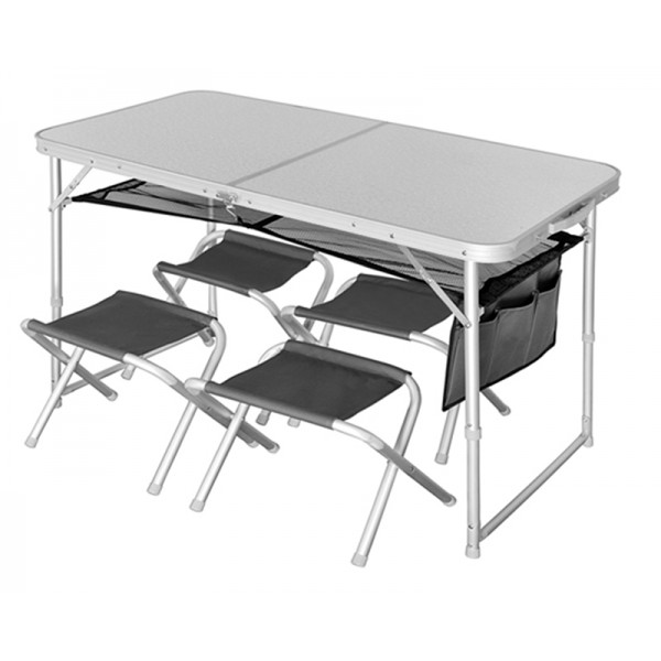 Туристический стол со стульями Norfin Runn NF white/silver
