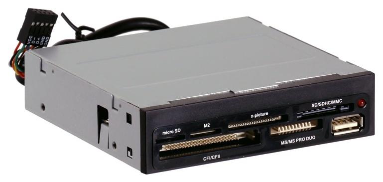 Устройство для чтения карт памяти Ginzzu GR-136UB Серебристый черный