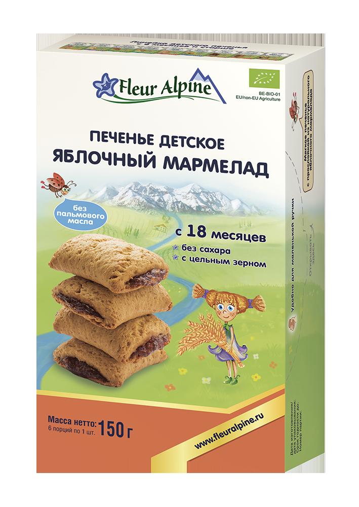 Печенье детское Fleur Alpine Органик Яблочный мармелад, 18 мес., 150/6