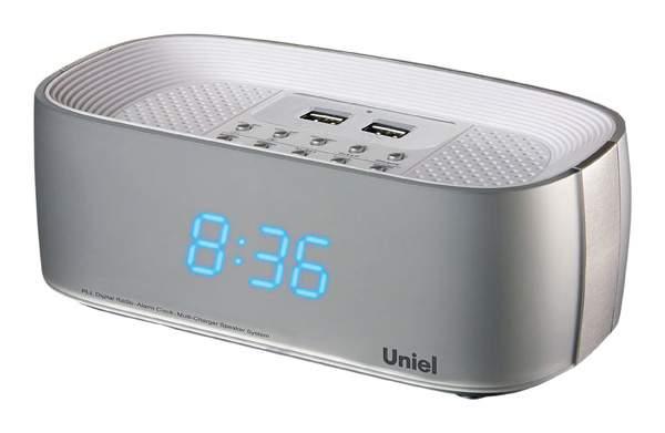 Радио-часы UNIEL UTR-23BSU Серебристый Голубой