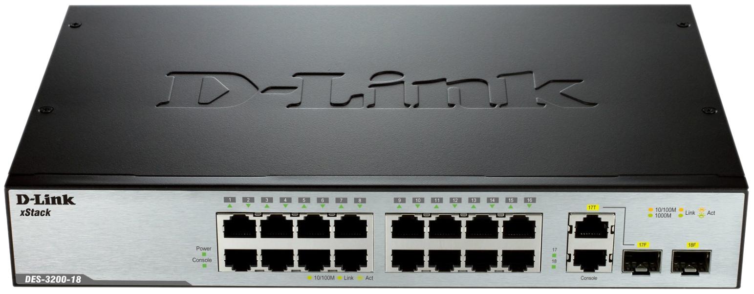 Коммутатор D-Link xStack DES-3200-18/C1 Серый, черный
