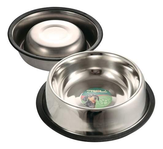 Одинарная миска для собак Triol, резина, сталь, серебристый, 0,45 л