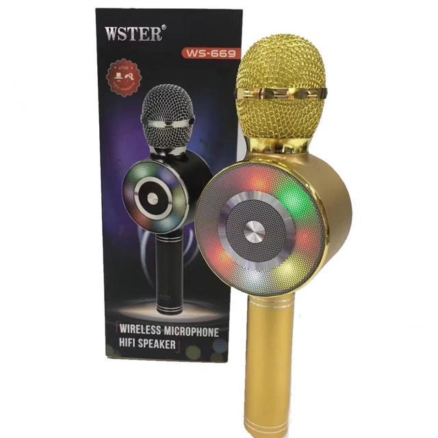 Беспроводной караоке-микрофон WS-669 Gold