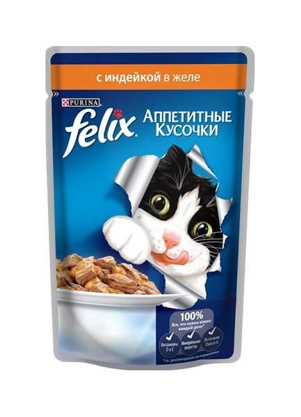 Влажный корм для кошек Felix Аппетитные кусочки, индейка, 85г