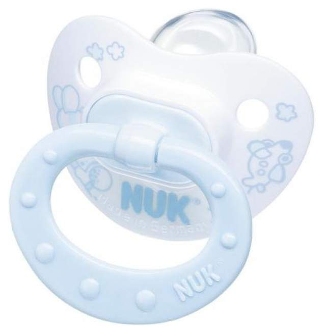 Nuk соска-пустышка для сна baby blue с кольц. сил. р. 1 в ассортименте