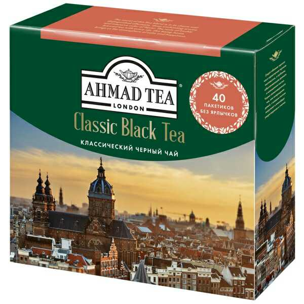 Чай черный Ahmad Tea классический листовой мелкий 40 пакетиков