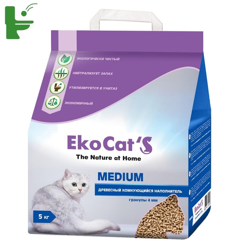 Комкующийся наполнитель Eko Cat's Medium древесный, 5 кг