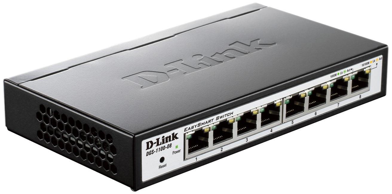 Коммутатор D-Link EasySmart DGS-1100-08/A1A Серый, черный