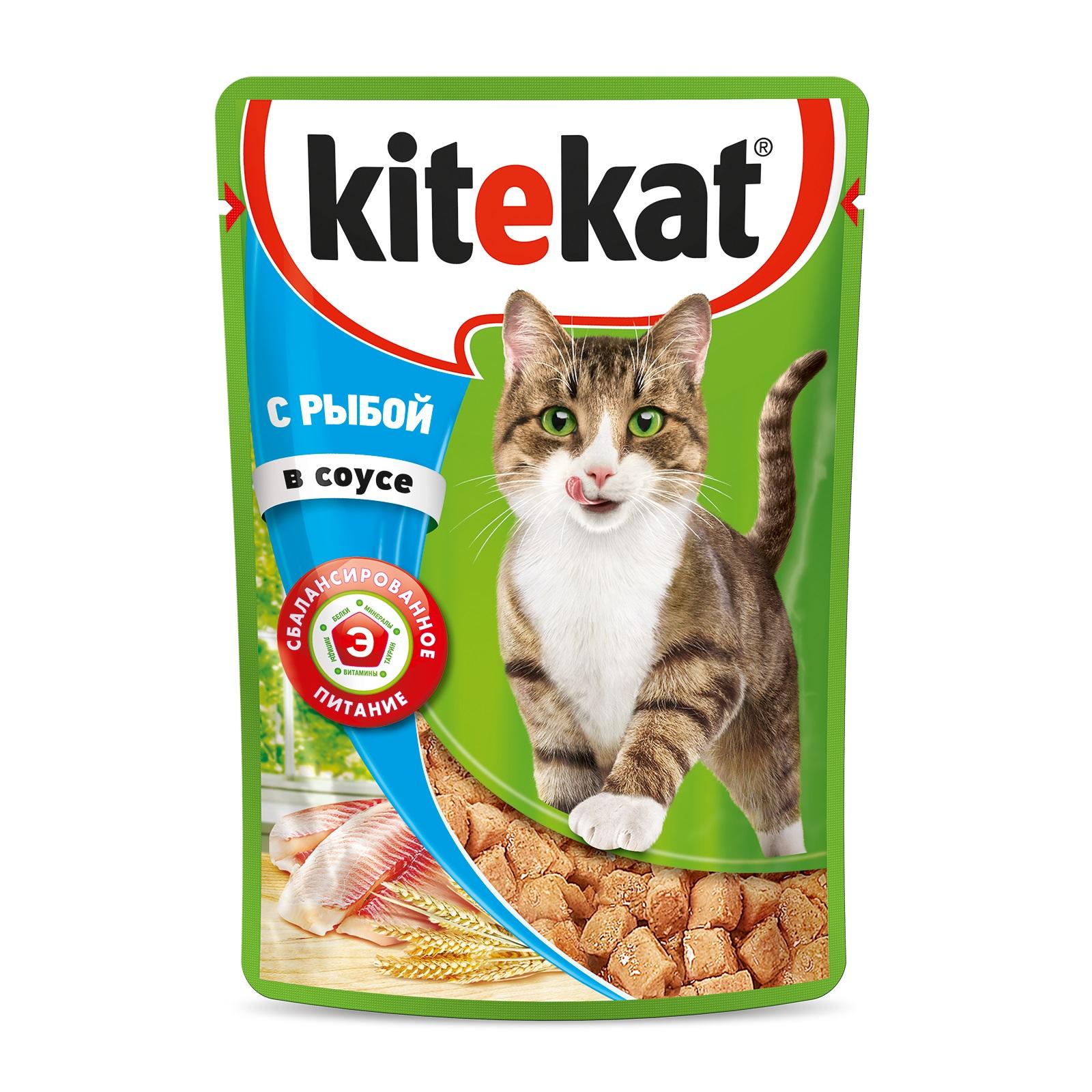 Влажный корм для кошек Kitekat с сочными кусочками рыбы в соусе,28 шт по  85г