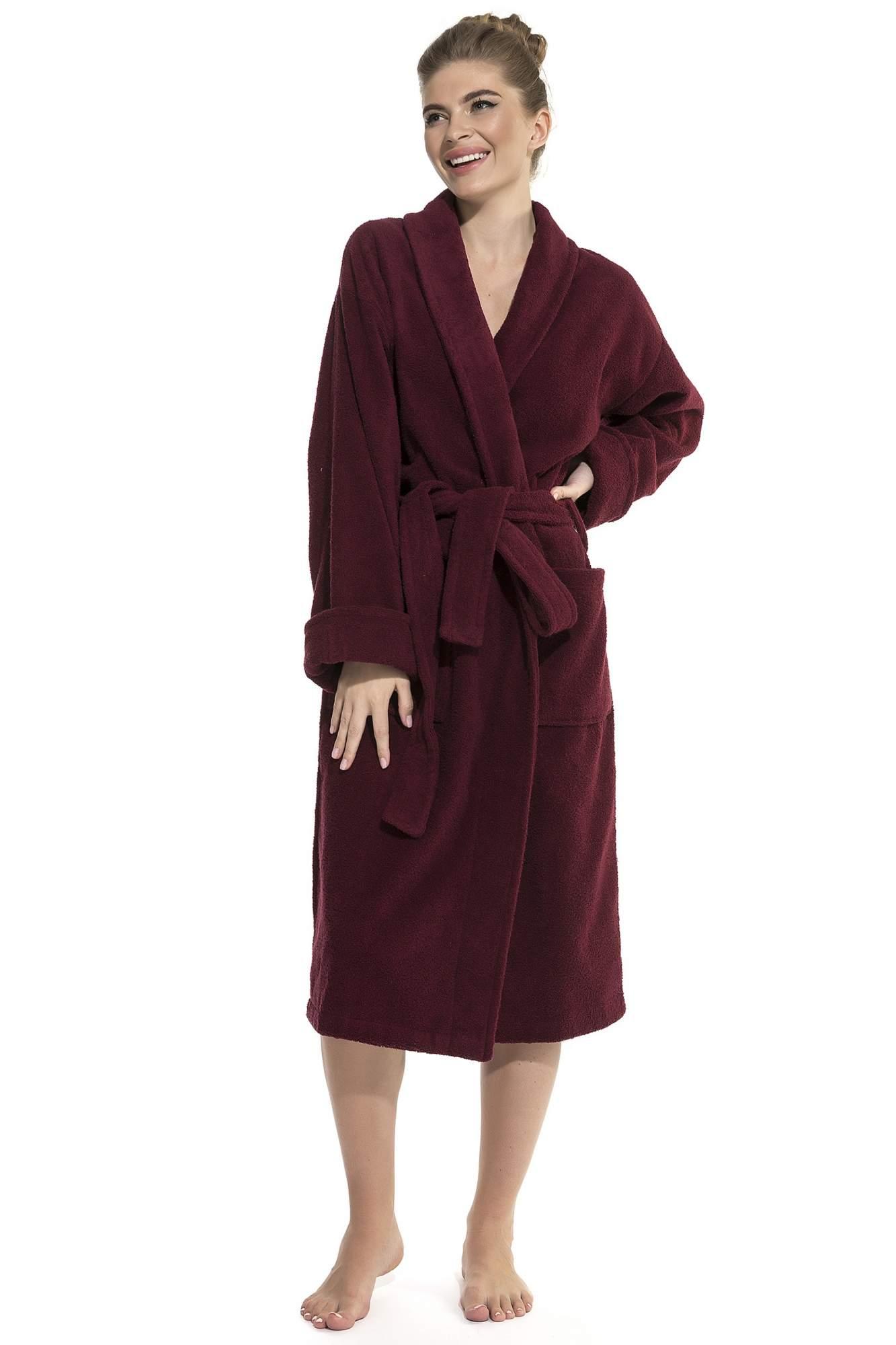Женский банный халат Vinous Label EvaTeks 365, винный, 50-52