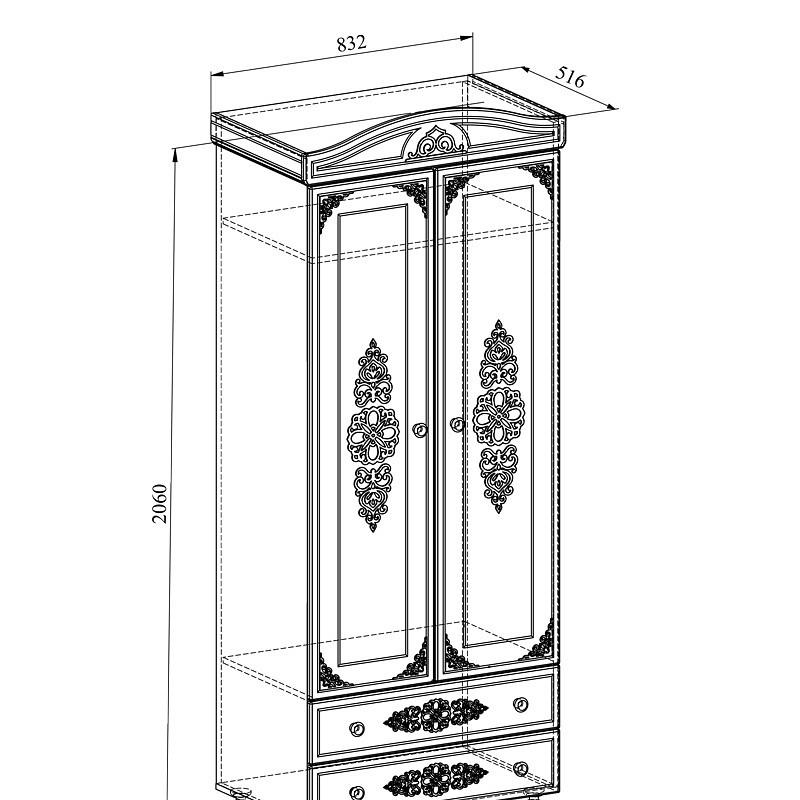 Платяной шкаф Компасс-мебель Ассоль плюс АС-02 KOM_AC02_2_plus 83,2x51,6x206, грей
