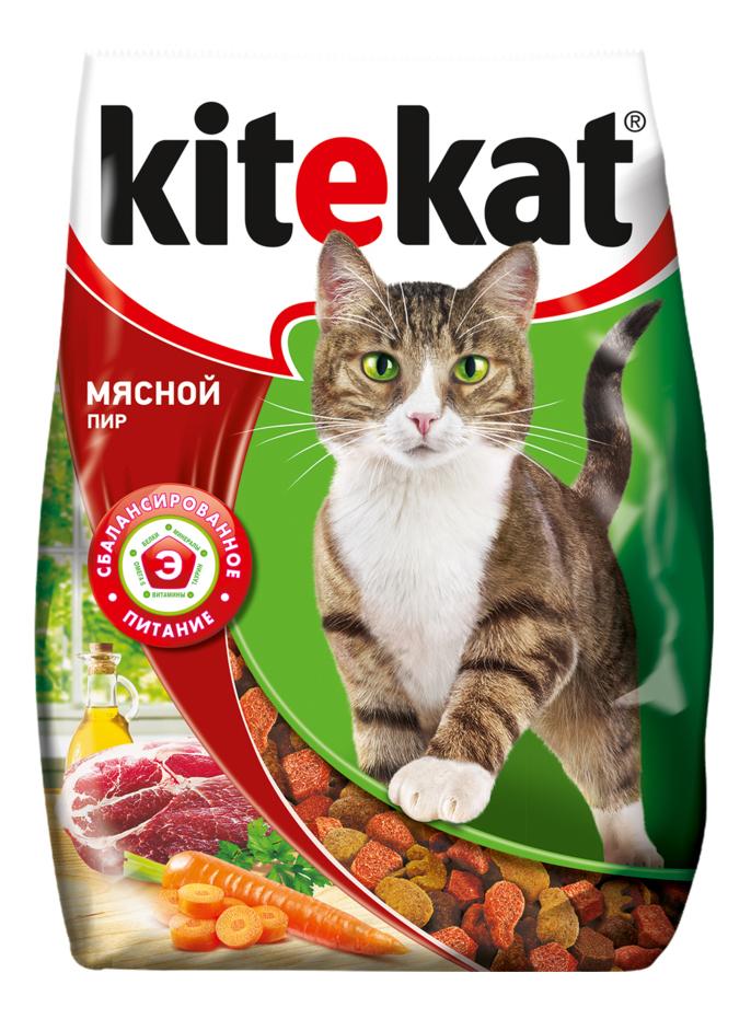 Сухой корм для кошек Kitekat, мясной пир, 10шт по 800г