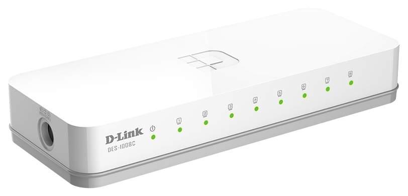 Коммутатор D-Link DES-1008C/A1A/A1B/B1A Белый