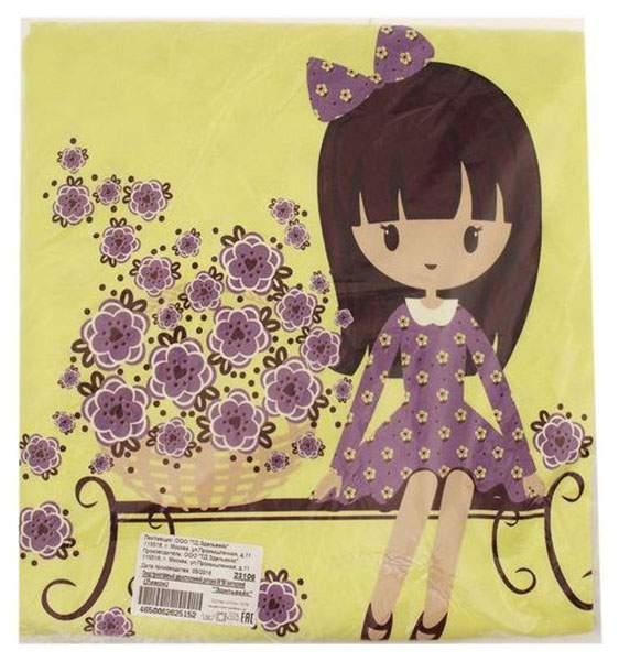 Плед детский трикотажный двухсторонний, размер 90х90 см, цвет лимонный 23106 Эдельвейс