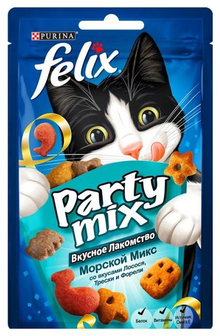Лакомство, сухой корм для котят, для кошек Felix Party Mix, лосось, треска, форель, 0,04кг