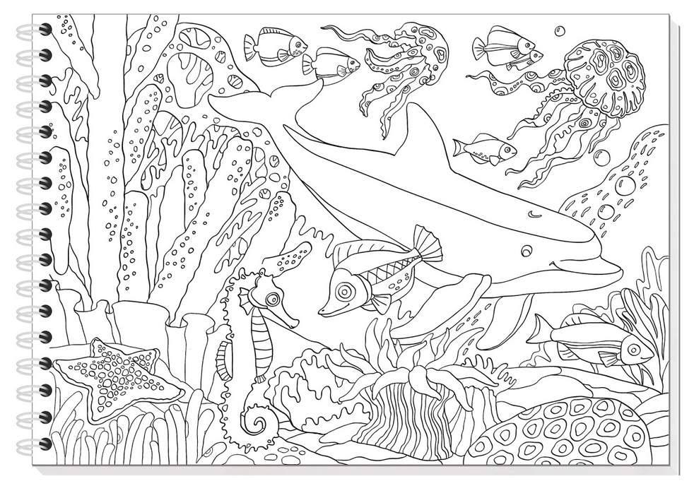 Картинка подводный мир раскраска