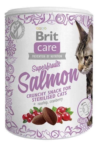 Снэки для кошек Brit Care, лосось, шиповник, клюква, 0,1кг