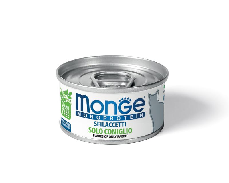 Консервы для кошек Monge Monoprotein, мясные хлопья из кролика, 80г