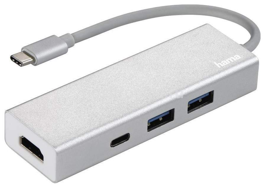 Разветвитель для компьютера Hama USB-C Aluminium белый 135756
