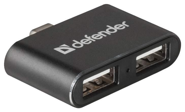 USB Type C hub хаб разветвитель-концентратор 2 порта Af*2.0 Defender Quadro Dual