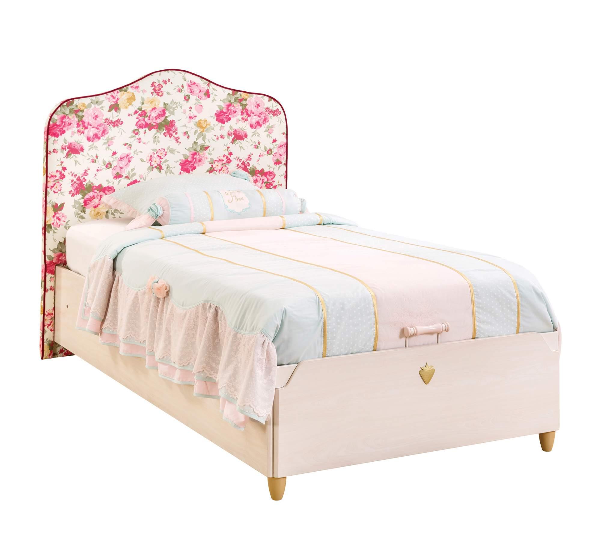 Кровать Cilek Flora с подъемным механизмом, с обивкой изголовья, 100х200 см