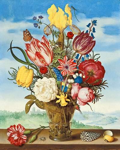 Репродукция Амброзиус Босхарт, Букет цветов на подоконнике 50х62,5 см